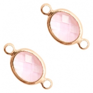 Crystal glass connectors oval 10x9mm Pink crystal-Rose Gold