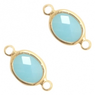 Crystal glass connectors oval 10x9mm Turquoise Blue opal-Gold