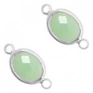 Crystal glass connectors oval 10x9mm Crysolite Green opal-Silver