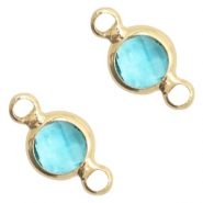 Crystal glass connectors round 6mm Turquoise Blue crystal-Gold