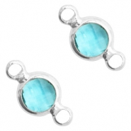 Crystal glass connectors round 6mm Turquoise Blue crystal-Silver