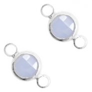 Crystal glass connectors round 6mm Air Blue opal-Silver