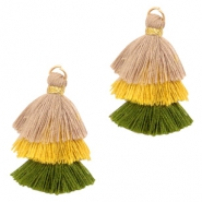 Tassels 3-layer 3.2cm Gold-Beige Yellow Green