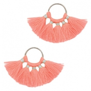 Tassels charm Silver-Coral Pink