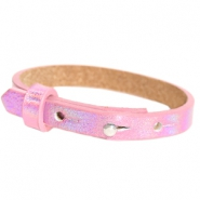 Leather Cuoio kids bracelet 8mm for 12mm cabochon Holographic Pink