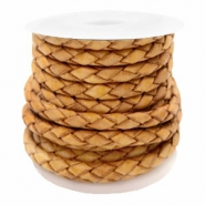 DQ round braided leather 4 strings 3mm Golden Brown
