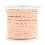 Trendy flat cord braided suede style 5mm Salmon Rose