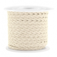 Trendy flat cord braided suede style 5mm Sand Beige