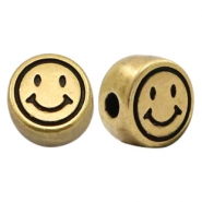 DQ European metal letter beads smiley Antique Bronze (nickel free)