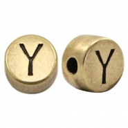 DQ European metal letter beads Y Antique Bronze (nickel free)