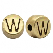 DQ European metal letter beads W Antique Bronze (nickel free)