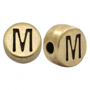 DQ European metal letter beads M Antique Bronze (nickel free)