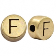 DQ European metal letter beads F Antique Bronze (nickel free)