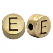 DQ European metal letter beads E Antique Bronze (nickel free)
