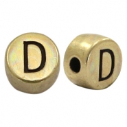 DQ European metal letter beads D Antique Bronze (nickel free)
