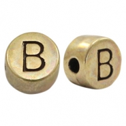 DQ European metal letter beads B Antique Bronze (nickel free)