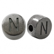 DQ European metal letter beads N Silver Anthracite (nickel free)