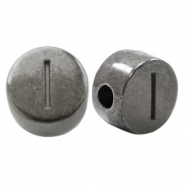 DQ European metal letter beads I Silver Anthracite (nickel free)