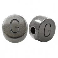 DQ European metal letter beads G Silver Anthracite (nickel free)