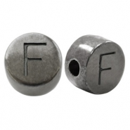 DQ European metal letter beads F Silver Anthracite (nickel free)