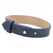 Cuoio bracelets leather 15 mm for 20mm cabochon Dark Midnight Blue