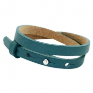 Cuoio bracelets leather 8mm double for 12mm cabochon Night Tide Green