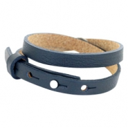 Cuoio bracelets leather 8mm double for 12mm cabochon Dark Midnight Blue