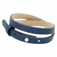 Cuoio bracelets leather 8mm double for 12mm cabochon Navy Blue