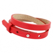 Cuoio bracelets leather 8mm double for 12mm cabochon Clear Bright Red