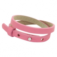 Cuoio bracelets leather 8mm double for 12mm cabochon Peonia Pink