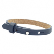 Leather Cuoio kids bracelet 8mm for 12mm cabochon Dark Midnight Blue