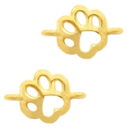 DQ European metal charms connector dog paw Gold (nickel free)