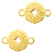 DQ European metal charms connector compass Gold (nickel free)
