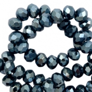 Top faceted beads 6x4mm disc Navy Blue-Amber Coating