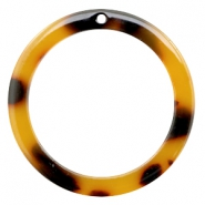 Resin pedants 35mm round Cognac-Brown