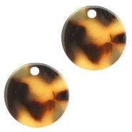 Resin pedants 12mm round Cognac-Brown