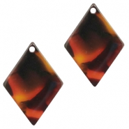 Resin pedants 20X14mm rhombus Red-Brown