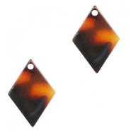 Resin pedants 15x10mm rhombus Red-Brown
