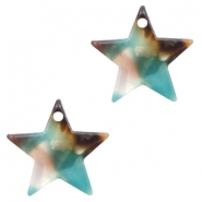 Resin pedants 15mm star Turquoise-Brown