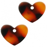 Resin pedants 11x14mm heart Red-Brown