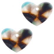 Resin pedants 11x14mm heart Turquoise-Brown