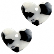 Resin pedants 11x14mm heart Black-White