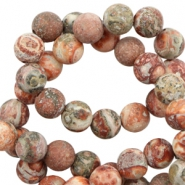6 mm natural stone beads leopard stone matt Multicolour Earth Red