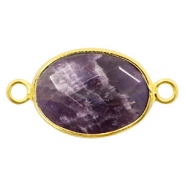 Semi-precious stone pendants/connectors oval 18x14mm crystal Gold-Anthracite Purple