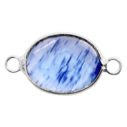 Semi-precious stone pendants/connectors oval 18x14mm watermelon tourmaline Silver-Blue