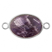 Semi-precious stone pendants/connectors oval 18x14mm crystal Silver-Anthracite Purple