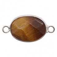 Semi-precious stone pendants/connectors oval 18x14mm tiger stone Silver-Brown