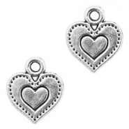 Metal charms heart Antique Silver