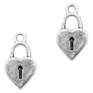 Metal charms lock Antique Silver