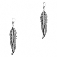 Metal charms feather Antique Silver